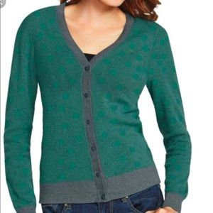 CAbi Green and Gray Polka Dot Cardigan 903 Size S